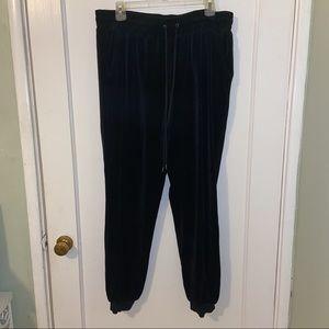F21 Black Velvet Joggers/Sweatpants